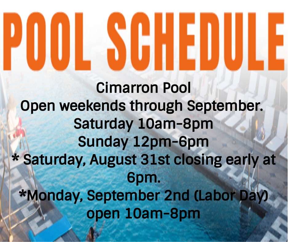 Cimarron Parkway Pool Hours Through September